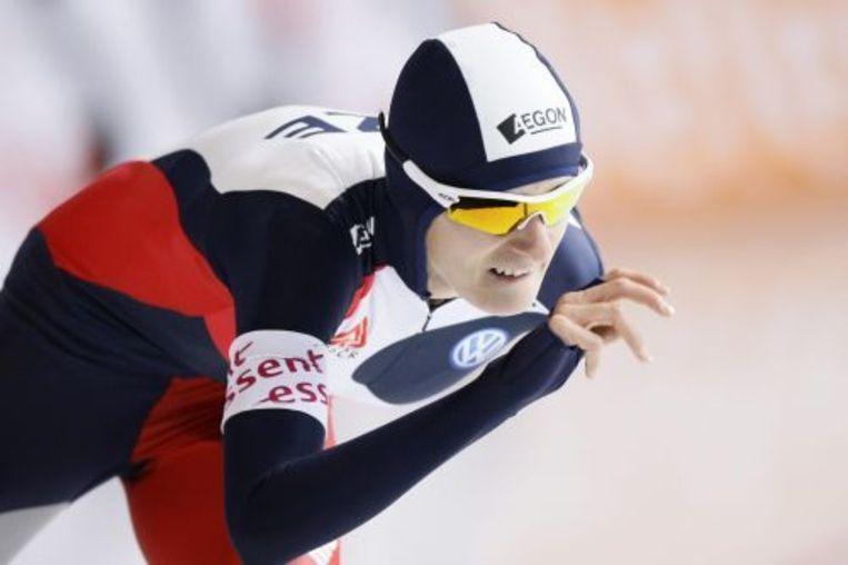 Martine Sablikova in actie op de 3000 meter tijdens de eerste ISU World Cup van het schaatsseizoen 2009/2010 vrijdag op het ijs van het Sportforum Berlijn. ANP Beeld