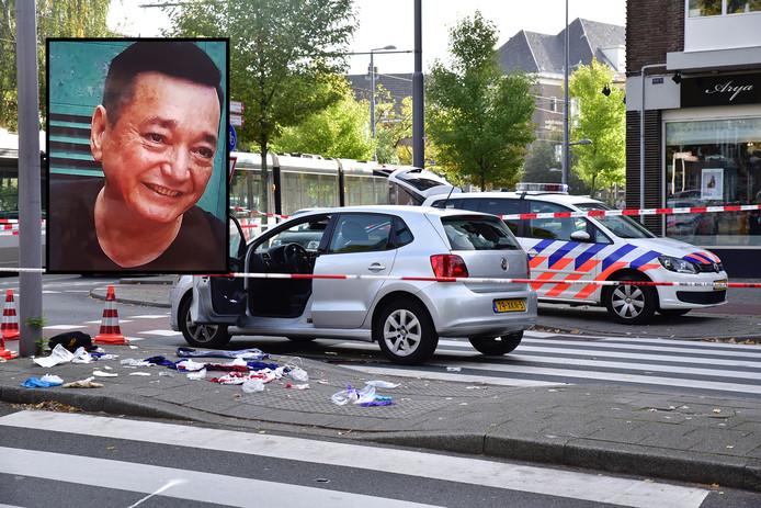 De Willem Ruyslaan vlak na de schietpartij. Foto-inzet: slachtoffer Moon Tong Choi.