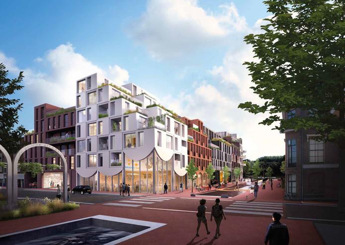 Impressie van de nieuwbouw die op de hoek van de Nieuwstraat en de Rijnkade in Arnhem wordt gerealiseerd. Zo ziet het compex eruit gezien vanaf de Weerdjesstraat.