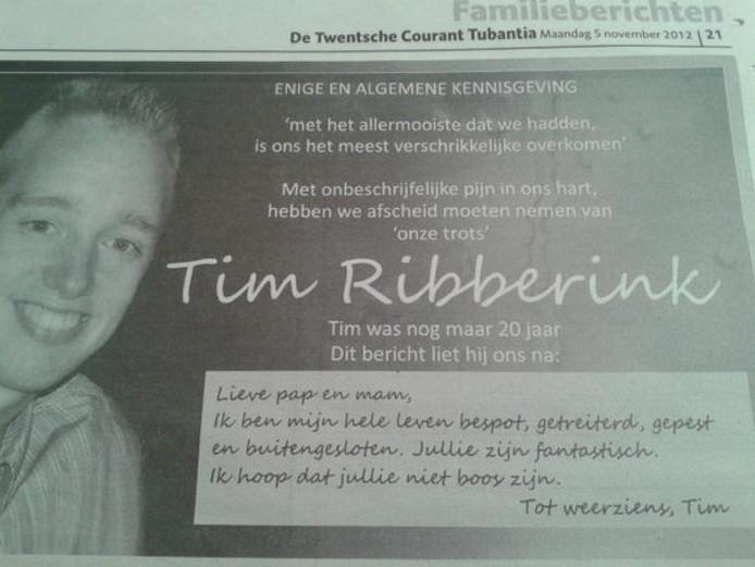 De overlijdensadvertentie van Windesheim-student Tim Ribberink, die zijn ouders vandaag in de Twentsche Courant Tubantia plaatsten.