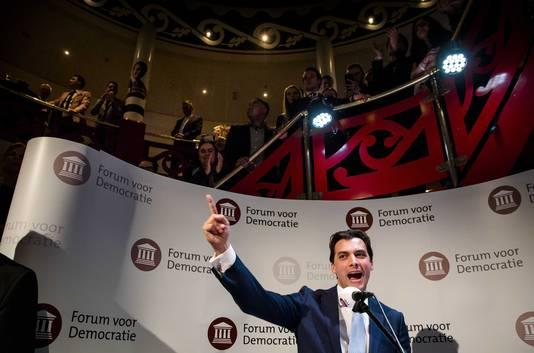 Thierry Baudet (FvD) tijdens zijn 'boreale' speech op de uitslagenavond van de Provinciale Statenverkiezingen. De toespraak schreef hij samen met Jansen.