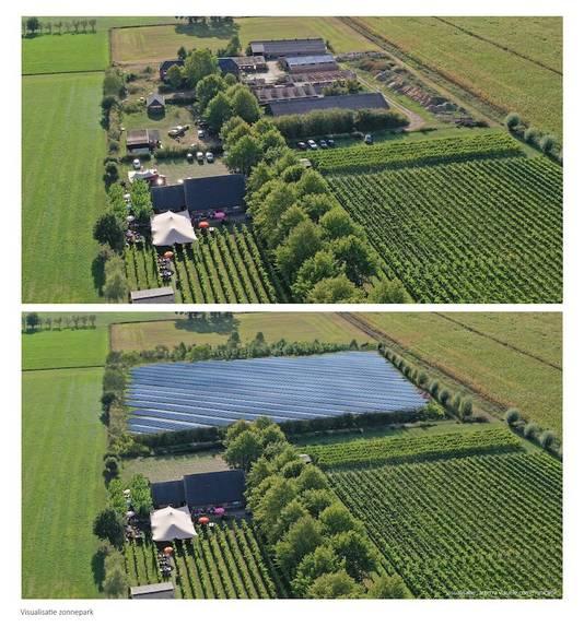 Visualisatie van het zonnepark tussen Gendringen en Netterden.