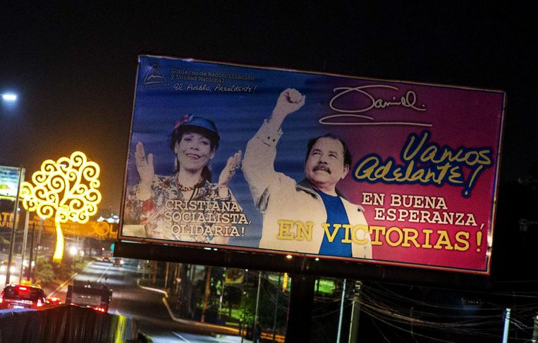 Een eerste billboard van het echtpaar. Beeld epa