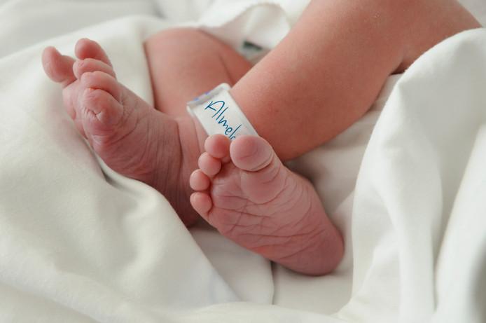 Voetjes pasgeboren baby. Beeld ter illustratie.
