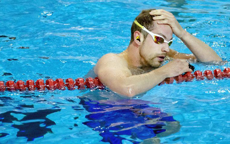 Joeri Verlinden tijdens de Open Nederlandse Kampioenschappen korte baan in sportcomplex de Drieburcht. Beeld anp