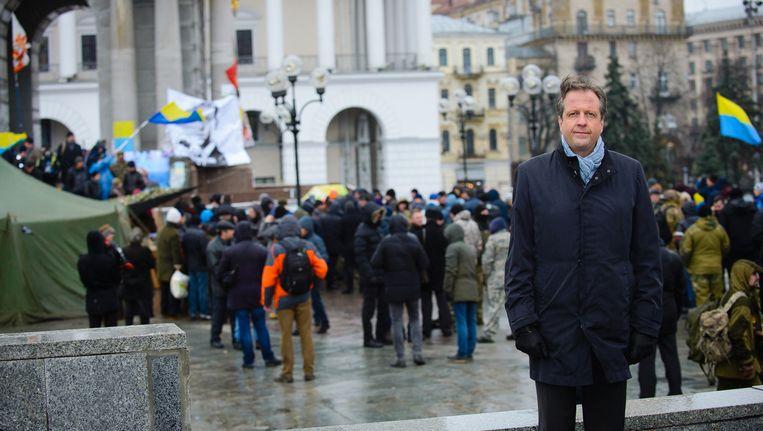 D66-leider Pechtold in Kiev. Hij is voorstander van het associatieverdrag. Beeld Evgenij Zinchenko