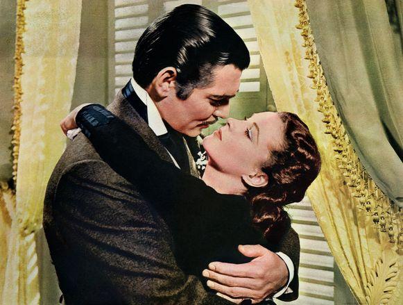 Rhett Butler (Clark Gable) en Scarlett O'Hara (Vivien Leigh) in een scène uit 'Gone With The Wind'.
