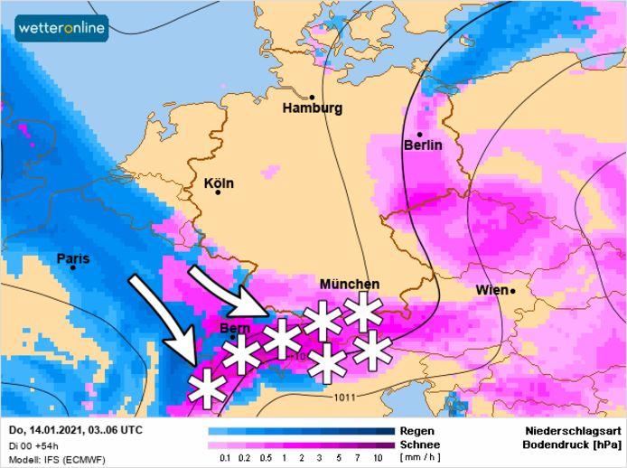 De sneeuw komt komende dagen vanaf het noordwesten.