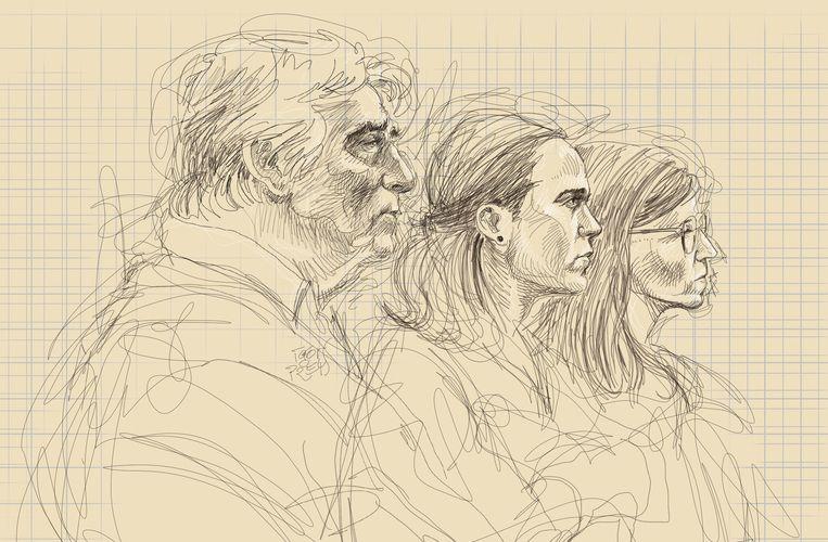 De vader en de twee zussen van Tine Nys op een tekening van Igor Preys.