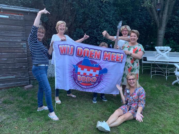 Enkele teams die al een foto hebben ingestuurd met een bekende Nederlander en het logo van de Dongense Dorpsquiz. Team 29 kwam (bijna) in beeld met waarschijnlijk Roel van Velzen.
