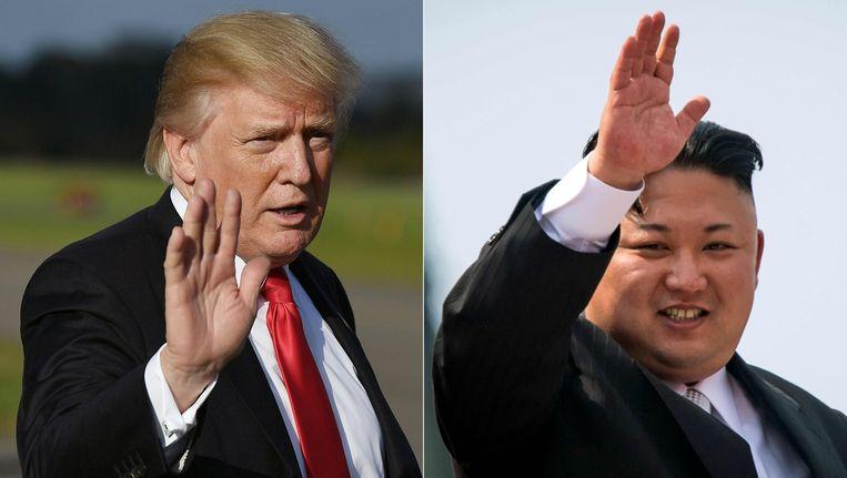 De Amerikaanse president Trump en de Noord-Koreaanse leider Kim Jong-Un.