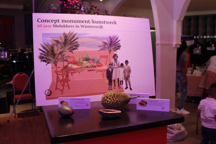 Ontwerp van het kunstwerk van Marcha van den Hurk, ter ere van 60 jaar Molukkers in Winterswijk.