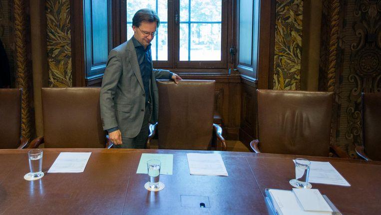 SP-Kamerlid Ronald van Raak arriveert in de Eerste Kamer voor het initiatiefvoorstel Wet Huis voor klokkenluiders in 2014. Beeld anp