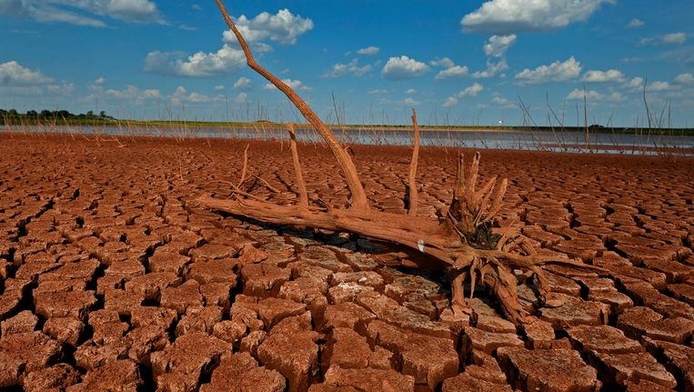 Een drooggevallen meer in Texas. Beeld EPA