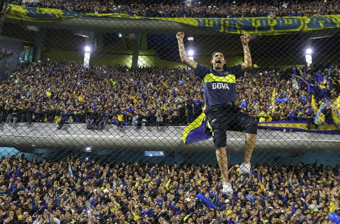 De fans van Boca Juniors bij de halve finale tegen Palmeiras. De heenwedstrijd is zaterdagavond in hun stadion, het iconische La Bombonera.