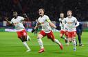 RB Leipzig viert feest na een goal tegen Tottenham Hotspur.