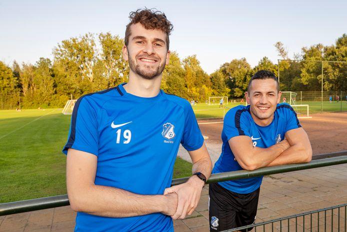 Colin van Gool (l) en Lars van Stipdonk ruilden Nuenen in voor eersteklasser FC Eindhoven AV.