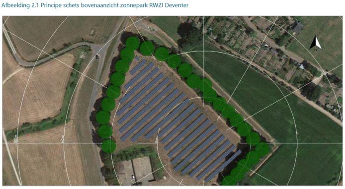 Zo moet het er eind 2020 van bovenaf ongeveer uitzien op de rwzi van Deventer. Dan staan er pakweg 2700 zonnepanelen op het terrein van het waterschap.