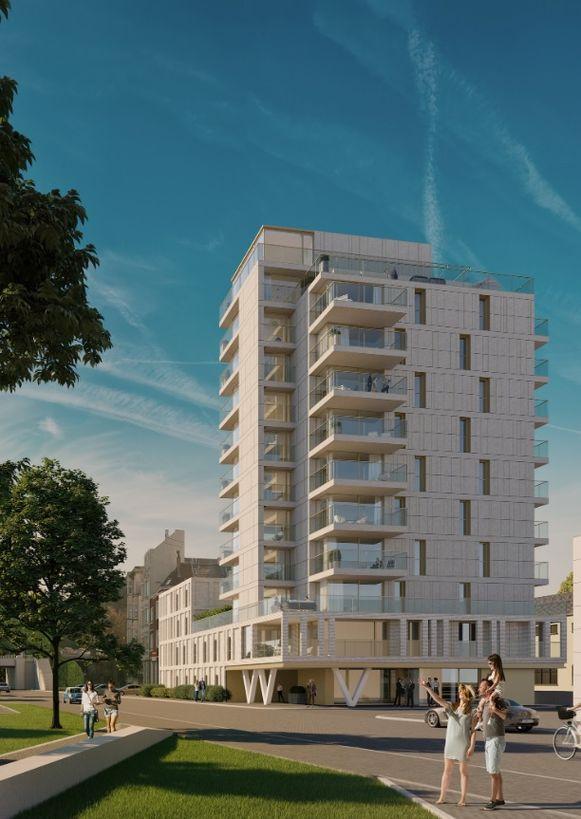 Residentie Hazee telt tien verdiepingen, goed voor twintig appartementen. Het lagere gedeelte van de site herbergt de studentenkamers.
