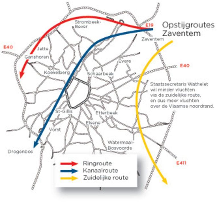 Het plan-Wathelet voorziet minder vluchten via de gele, zuidelijke route, en meer via de noordrand.