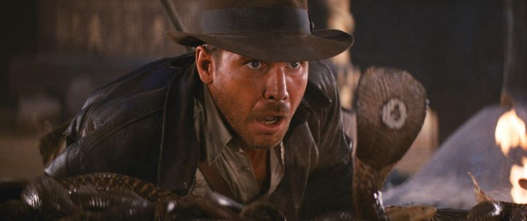 Harrison Ford in Raiders of the Lost Ark. Beeld null