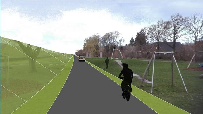 Impressie dijkversterking Hansweert. In het groen de contouren van de nieuwe dijk buiten de kern. De weg wordt moet worden verplaatst.