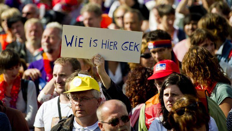 Demonstranten op het Malieveld in Den Haag protesteren in 2011 tegen de bezuinigingen op de geestelijke gezondheidszorg. Beeld anp