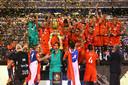 Chili viert het winnen van de Copa América in 2016.