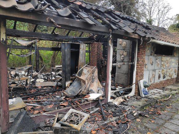 De opslagruimte van het kunstenatelier is volledig vernield.