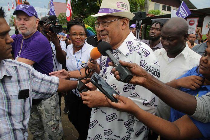 Desi Bouterse, de voorzitter van de NDP-partij,