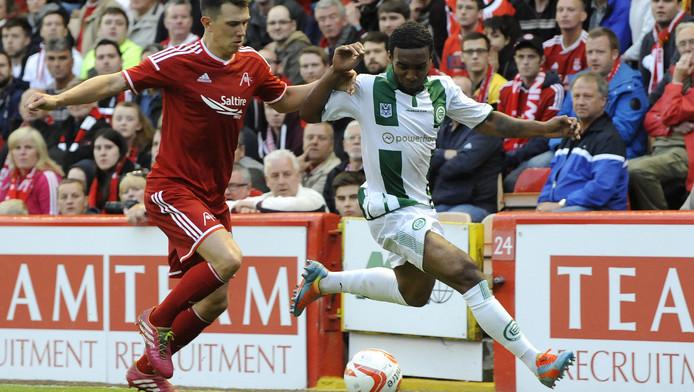 Burnet in actie tegen Aberdeen.