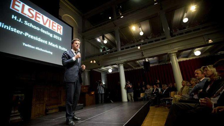 Premier Rutte in de Rode Hoed: De roep om opbeurende woorden is 'een olifant die mij het zicht beneemt'. Beeld anp