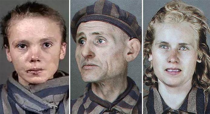 Ingekleurde portretten van Auschwitzslachtoffers door de Braziliaanse kunstenares Marina Amaral