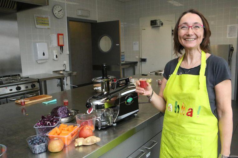 Sophie Decorte maakt groentensapjes voor kampioenen.