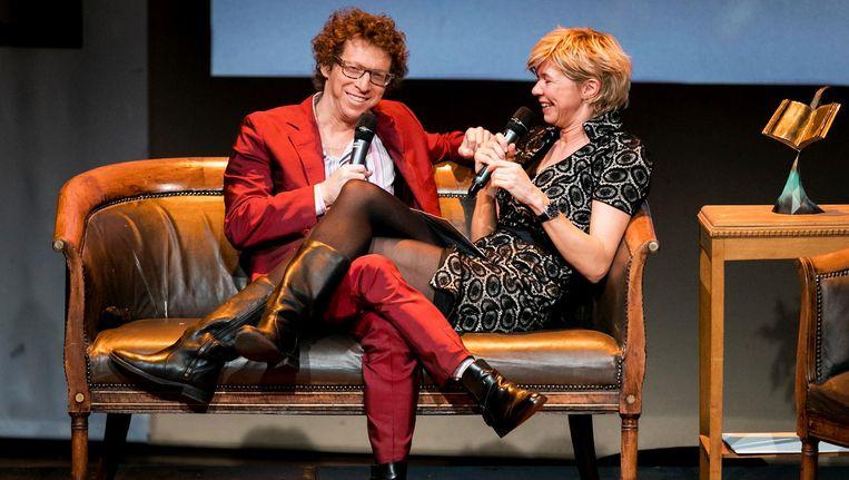 De uitreiking van de ECI Literatuurprijs 2016 vanavond in het Theater aan het Spui in Den Haag, links: Arnon Grunberg. Beeld anp