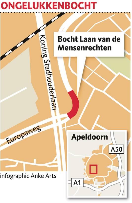 De bewuste bocht in de Laan van de Mensenrechten in Apeldoorn.