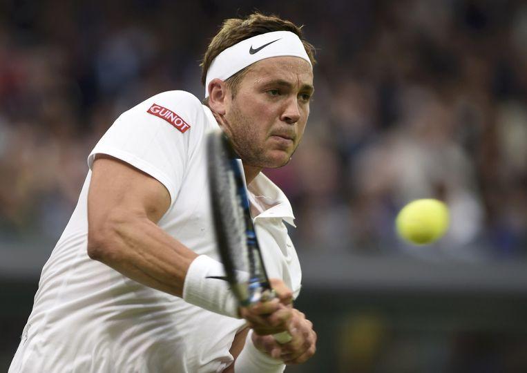 De Brit Marcus Willis in zijn partij tegen Roger Federer op Wimbledon. Beeld Reuters
