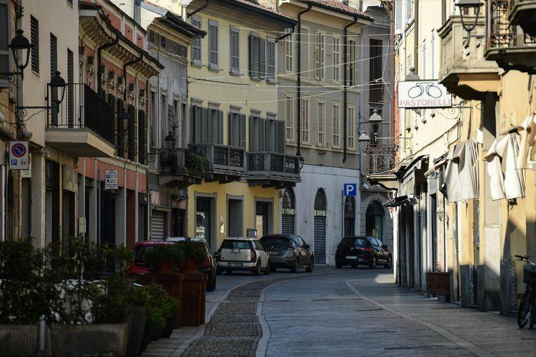 Verlaten straten in Codogno in Italië  Beeld AFP