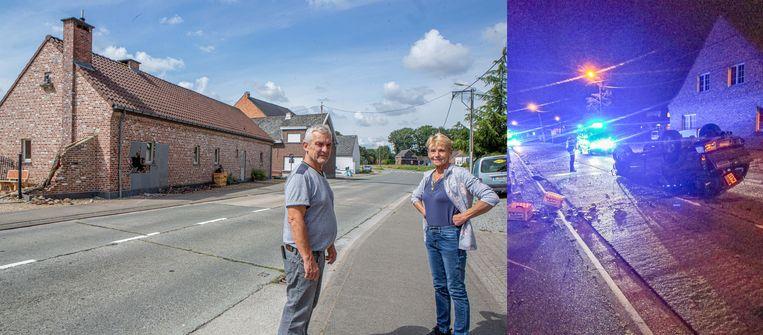 Filip Schaukens en Frieda Bernau voor hun getroffen woning. De pick-up eindigde ondersteboven in het midden van de straat.