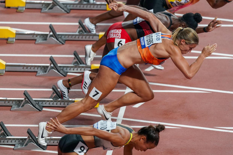Dafne Schippers tijdens het WK atletiek in 2019.   Beeld BSR Agency