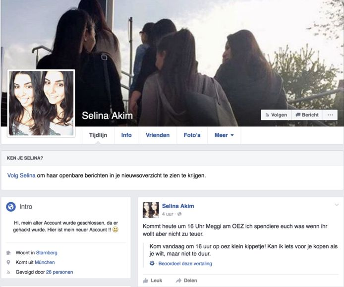 Het bericht op Facebook, waarschijnlijk geplaatst door de schutter.