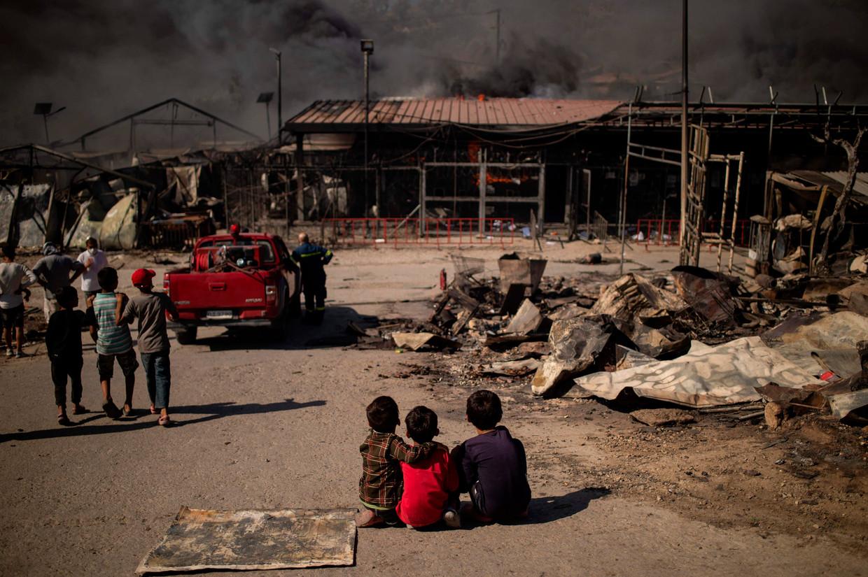 Kamp Moria, deels verwoest door brand. Beeld AFP