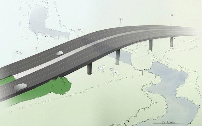 Een schets van de beoogde A58-ecopassage over de Beerze bij Spoordonk. Volgens de nieuwste versies zou de brug minder hoog worden: 2,5 meter in plaats van 4 meter.