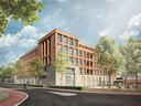 Impressie van het nieuwe appartementencomplex dat volgend jaar moet verrijzen op de plek van het oude postkantoor in Uden. Er is plek voor 26 luxe appartementen, parkeren gebeurt onder het gebouw.