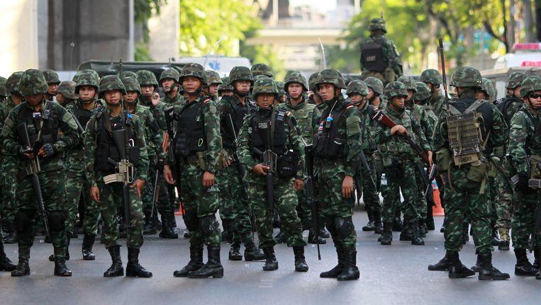 Thaise soldaten in Bangkok op 24 mei. Beeld ap