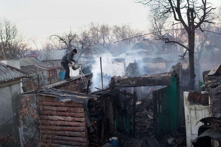 Vernietigde woningen in Oost-Oekraïne. Beeld afp