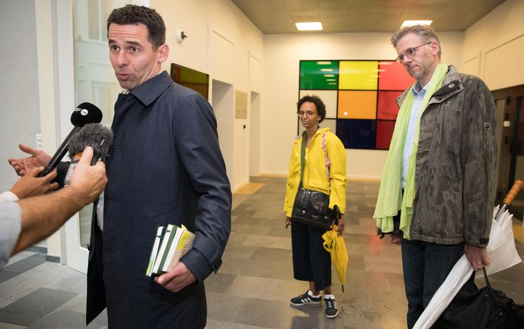 De delegatie van Ecolo: Jean-Marc Nollet, Barbara Trachte en Stephane Hazee.