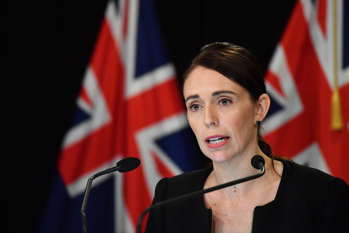 De Nieuw-Zeelandse premier Jacinda Ardern, vandaag tijdens een persconferentie in Wellington.