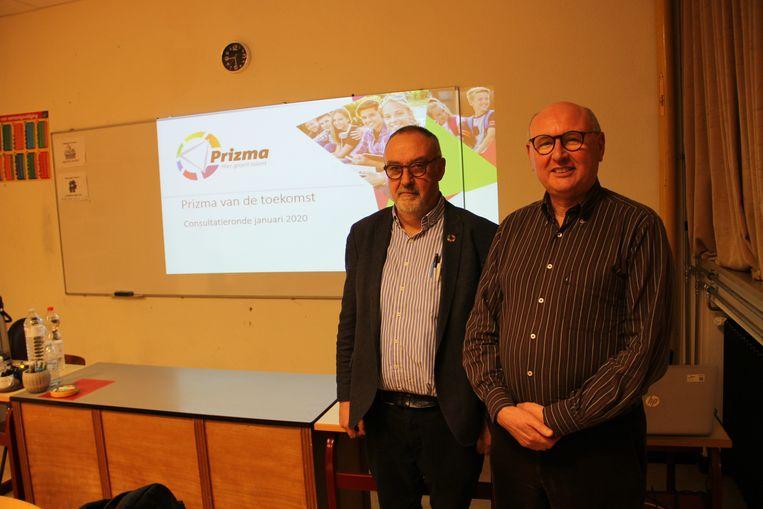 Coördinerend Prizma-directeur Geert Timperman en voorzitter van de Raad van Bestuur Jean-Paul Valleys van de Prizma-scholengroep.