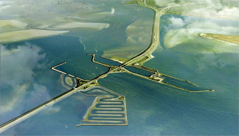Het plan voor de vismigratierivier, aan de kant van het IJsselmeer, bij de huidige sluizen van Kornwerderzand. Beeld rv